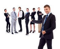 Businessman presenting his team. Isolated over a white background stock images