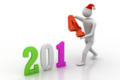 Businessman presenting new year 2014. 3d illustration of businessman presenting new year 2014 royalty free illustration