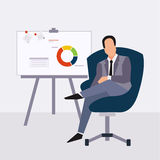Businessman presenting on paperboard and handle Stock Image