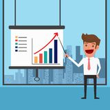Businessman Presenting and pointing business growth chart Royalty Free Stock Image