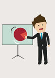 Businessman presenting. Businessman pointing pie chart on table Royalty Free Stock Photography
