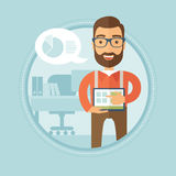 Businessman presenting report on a laptop. Hipster businessman with beard pointing at the charts on laptop screen. Young businessman giving business Royalty Free Stock Photos