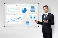 Businessman presenting report on white board with laser pointer stock photos