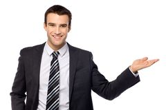 Businessman presenting something Stock Photo