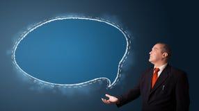 Businessman presenting speech bubble copy space Stock Image