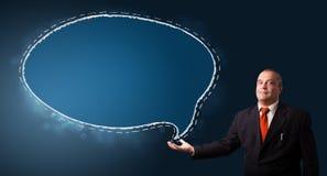Businessman presenting speech bubble copy space Stock Images