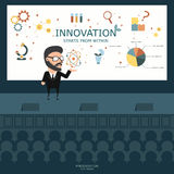 Businessman presenting  on the stage. Business concept. Flat ill Stock Photos