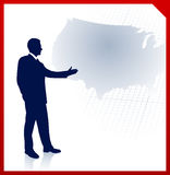 Businessman presenting United States of Amrica map Royalty Free Stock Photo