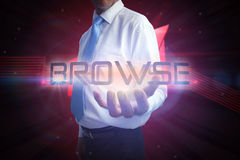 Businessman presenting the word browse Stock Photography