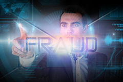 Businessman presenting the word fraud Royalty Free Stock Photo
