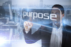 Businessman presenting the word purpose Royalty Free Stock Photography