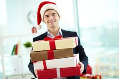 Businessman with presents Royalty Free Stock Photos