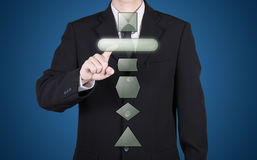 Businessman press blank button instant Royalty Free Stock Photography