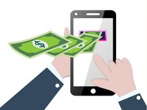 Make money online. Businessman press and make money with smartphone, make money online concept Royalty Free Stock Photos