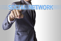 Businessman press text social network Royalty Free Stock Images