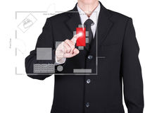 Businessman press to floor plan. On red button, isolated Royalty Free Stock Images