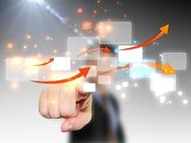 Businessman press touchscreen. Computer concept Stock Photography