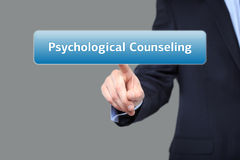 Businessman presses button psychological counseling on virtual screens. technology, internet and networking concept. Businessman presses button psychological stock images