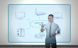 Businessman presses computer network Stock Image