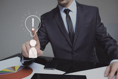 Businessman presses the sign idea. business and technology concept Royalty Free Stock Photo