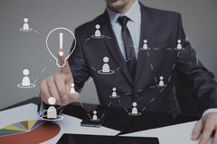 Businessman presses the sign idea. business and technology concept Royalty Free Stock Image