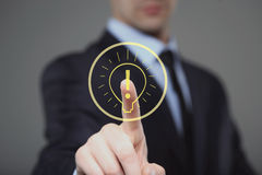 Businessman presses the sign idea. business and technology concept Stock Photography