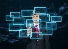 Businessman presses touch screen Royalty Free Stock Photo