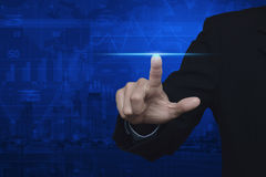 Businessman pressing blue spot light line power, Start up busine Royalty Free Stock Image