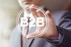 Businessman pressing button b2b icon web Royalty Free Stock Photo