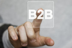 Businessman pressing button b2b icon web online Stock Image