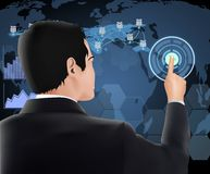 Businessman pressing button with contact on virtual screens Stock Photo