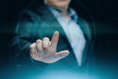 Businessman pressing button. Innovation technology internet business concept. Space for text. Businessman pressing button. Man pointing on futuristic interface royalty free stock images