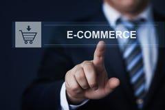 Businessman pressing button virtual screens Stock Image