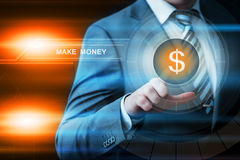 Businessman pressing button virtual screens Stock Images