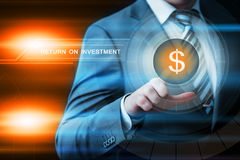 Businessman pressing button virtual screens Stock Photography