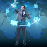 The businessman pressing buttons in computing concept Stock Image