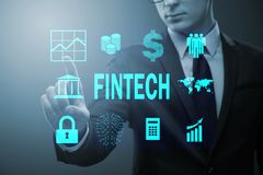 The businessman pressing buttons in fintech concept Stock Photo