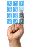 Businessman Pressing on Clear Touch Screen Keypad Royalty Free Stock Images