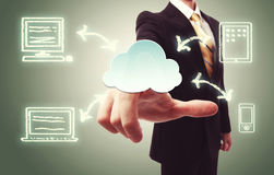 Businessman pressing cloud icon Royalty Free Stock Photo