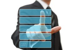 Businessman pressing the color  bar Stock Photo
