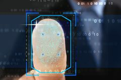Businessman pressing control glass of biometric fingerprint scanner, closeup stock photography