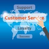 Businessman pressing a Customer Service Concept button, vector Stock Photo