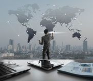 Businessman pressing on digital virtual screen, globalization ma Royalty Free Stock Photo