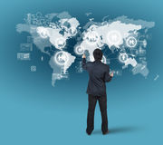 Businessman pressing on digital virtual screen, globalization. Marketing concept stock illustration