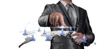 Businessman pressing on digital virtual screen, human resource m Stock Photo