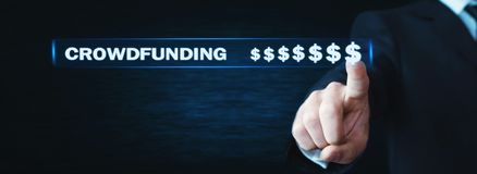 Businessman pressing dollar signs. Crowdfunding concept royalty free stock image