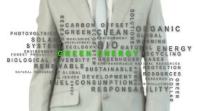 Businessman pressing energy button Royalty Free Stock Photography