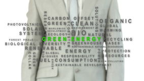 Businessman pressing the green energy button stock video