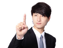 Businessman pressing an imaginary button Royalty Free Stock Photos