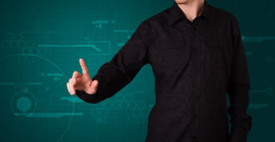 Businessman pressing imaginary button Royalty Free Stock Photography